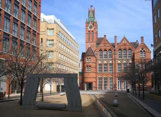 Oozells Square and the Ikon Gallery which shows exhibitions of contemporary art. Once a former Board School. By David Stowell.