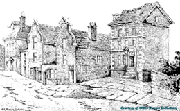Houses in (the) Bedern, York (pre 1880s). Image courtesy of YAYAS (Evelyn Collection)