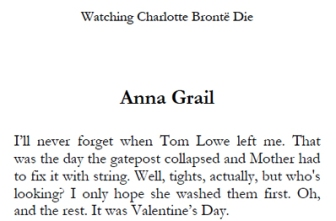 Anna Grail - short extract from Watching Charlotte Bronte Die