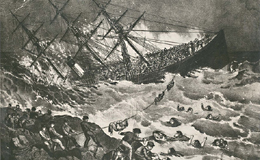 The SS Atlantic sinking (Currier and Ives Lithographs)